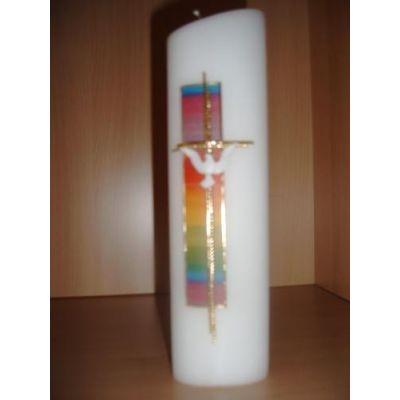Taufkerze oval regenbogenwachs Kreuz   194
