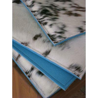 Dunkelblau F16 - Sitzauflage COW - Stuhlauflagen aus Filz und Kuhfell, dreifarbig | 547480560