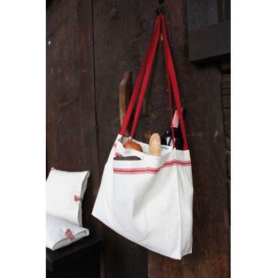 Einkaufs- und Brottasche - aus grobem Leinen mit roten Streifen | 308331951
