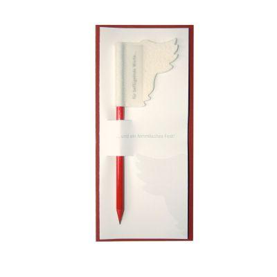Weihnachtskarte mit einem Stift für beflügelnde Worte | 306193871