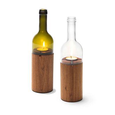WeinLicht - Windlicht in Form einer Weinflasche aus Glas und Holz | 320473536