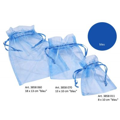 CREApop® Organza-Säckchen blau 8 x 10 cm, Beutel a 12 Stück | 3858011 / EAN:4036159457453