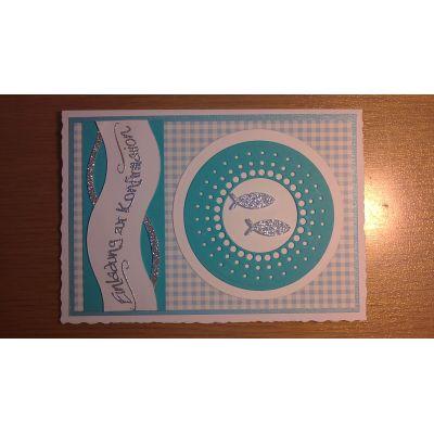 Einladungskarte mit Glitterfischen und kariertem Papier | 2014/5