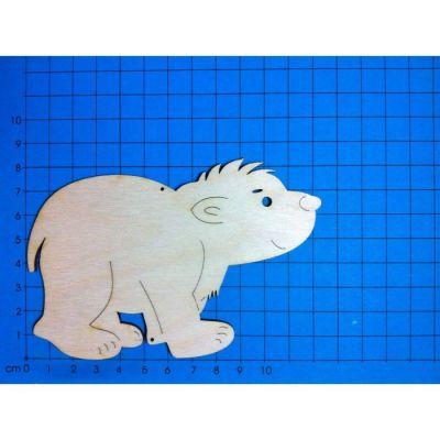 Holz Kleinteile laufender Eisbär, Bär 30mm - 400mm   EBH3003 / EAN:4250382816119