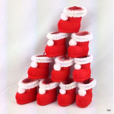 10 winzige Nikolausstiefel Mini Weihnachtsstiefel, Stiefel im samtigen rot mit Netz und Hänger Weihnachtsdeko | WN-46005 / EAN:4037684460056