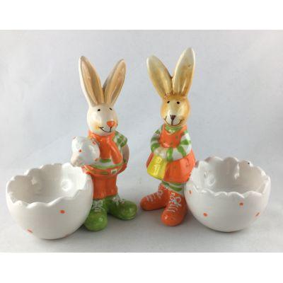 2 Eierbecher Osterhase Keramik Dekotopf Ostern Tischdekoration  | 85423 / EAN:4037684854236