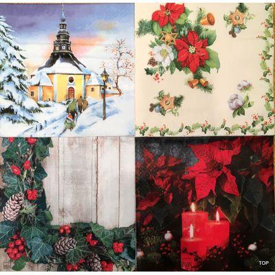 20 Servietten Weihnachten Lunch 33x33 cm Tisch-Deko Home Fashion 4 Motiven NEU | 61506