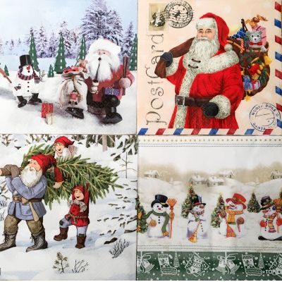 20 Servietten Weihnachten Lunch 33x33 cm Tisch-Deko Home Fashion in 4 Motiven | 80001