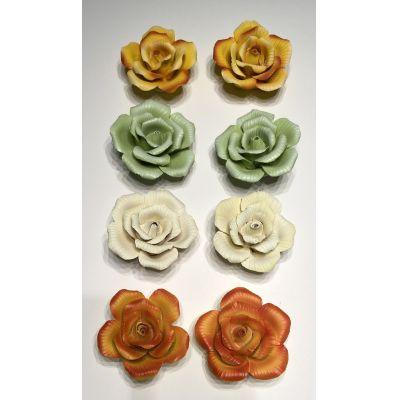 2er Set Keramik Rosen Blüte Deko 4 Farben | K-08430 / EAN:4015861084300
