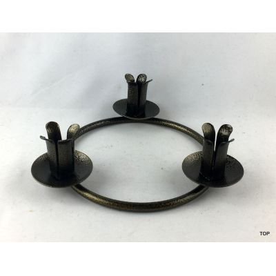 3er Kerzenständer Kerzenhalter Rund metallic Bronze gepulvert | Pl-27817 / EAN:8711295278174