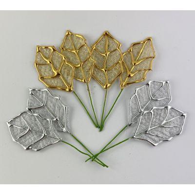 4 Stück Deko-Blätter am Draht 5,8cm x 10,5cm gold oder silber | AM-3776 / EAN:4015861037764