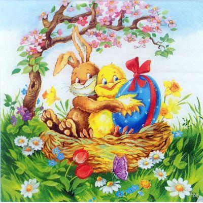5 Stück Osterservietten 33x33cm Easter Friends Ostermotiv Tischschmuck | DI-502-5 / EAN:4022664222