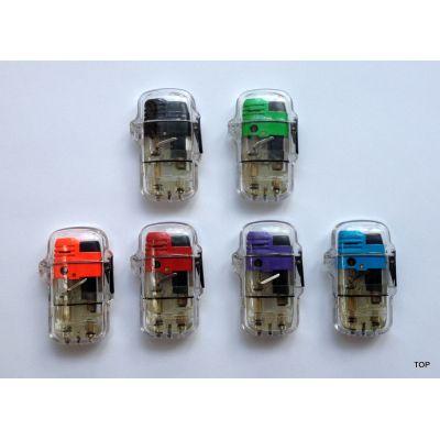 Feuerzeug Gas Flamme als Bunsenbrenner transparent Kopfteil farbig nachfüllbar | Br-56010 / EAN:6922621220220