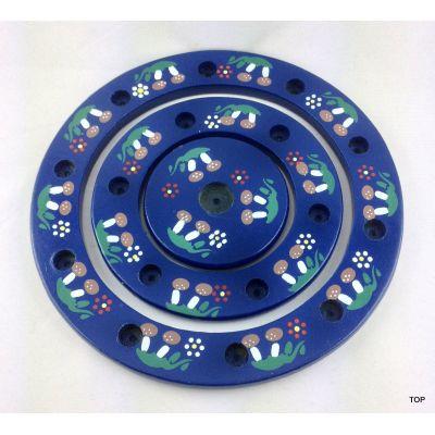 Geburtstags Ring Holz 3 Ringe Blau Rot 16+1 Kerzen   BR-28111 / EAN:4037684281117