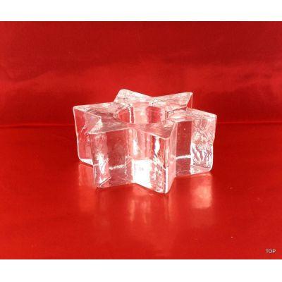 Glas Kerzenhalter Glas Sternenförmig 6,5 cm Kerzenständer   AK-28000 / EAN:4002727497312