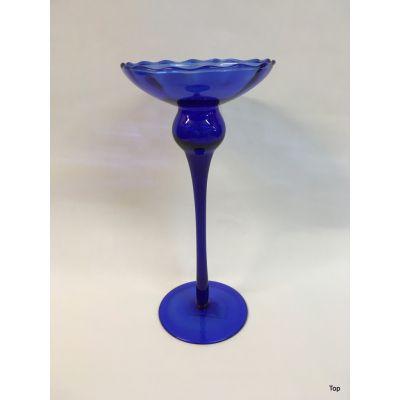 Kerzenhalter Glas Blau Kerzenständer für Spitzkerzen Kugelkerzen | GK-130 / EAN:4038611008685