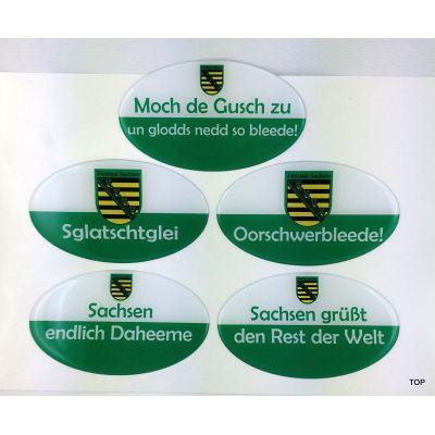 Mir sei deitsch un frei,weil mor Sachsen sei - Aufkleber witzigen sächsischen Sprüchen echten Sachsen Autofahrer | NM-110 / EAN:4250825195801