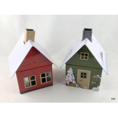 Räucherhaus grün oder rot mit intergriertem Räucherkerzenhalter | 10000 / EAN:4015774022048