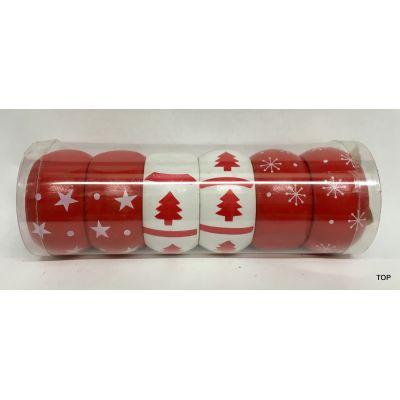Serviettenringe 6er Set Holz Weihnachten Tischdeko | BR-43210 / EAN:4037684432106
