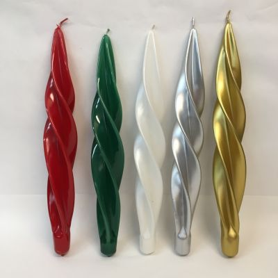 Spiralförmige Kerzen gedreht in 5 Farben metallic 29 cm günstig C | AT-7026SC / EAN:5903722000141