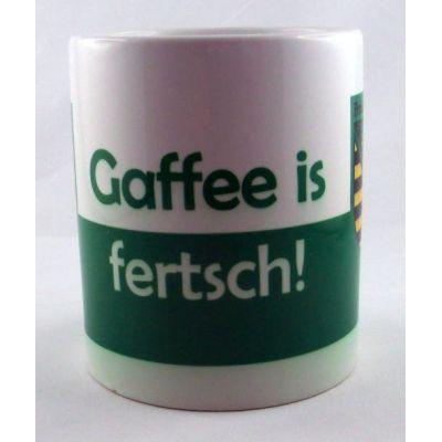 Tasse Gaffee is fertsch Kaffeetasse Sachsen Porzellan Deko   NM-7 / EAN:4250825195030