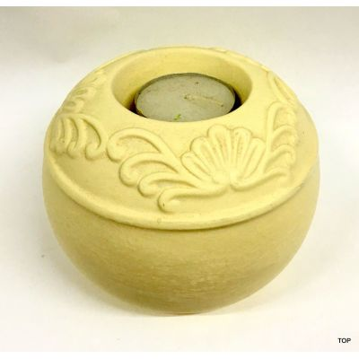 Teelichthalter rund Beige Kerzenhalter Dekokoration Keramik | 41760 / EAN:4015861417603