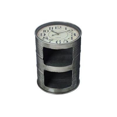 Beistelltisch mit Uhr Couchtisch Ablagetisch Tisch Fass Tonne Beistelltisch Metall Glas rund   6381 / EAN:4020606933676