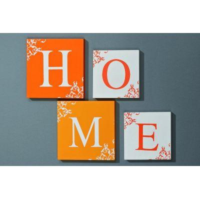 Bildserie HOME 4-teilig Bild Wandobjekt Deko Heim Buchstabe Dekoration | 2212 / EAN:4020606682741