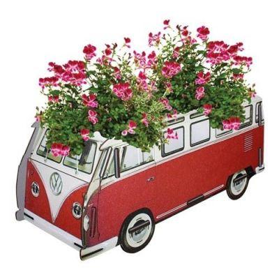 Blumenkasten VW T1 rot Pflanzkübel Blumenkübel Pflanzgefäß Blumentopf Kübel Pflanzentopf | 7002 / EAN:4019435600835