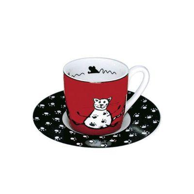 Espressotasse Tiergeschichten Katze Tiergeschichten Katze Espressotasse Untersetzer Unterteller | 3417 / EAN:4028145002914