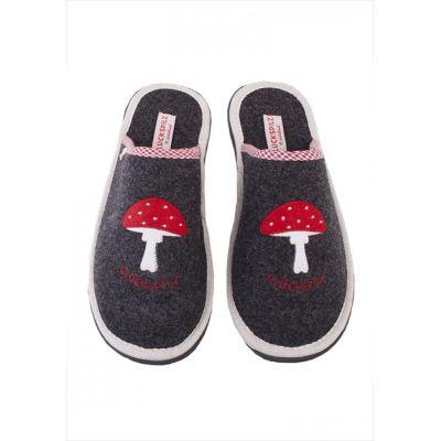 Filzpantoffel Glückpilz schwarz Hausschuhe Damen Pantoffeln Pantoletten Filzhausschuhe Puschen | 9491