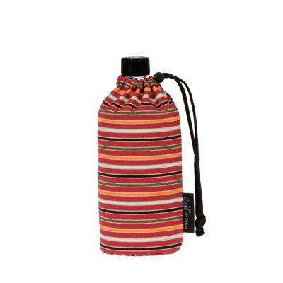 Flasche 0,6 Liter Bio Streifen Glasflasche Trinkflasche Isolierflasche Germany Thermobecher Glas | 5045 / EAN:4030596001699
