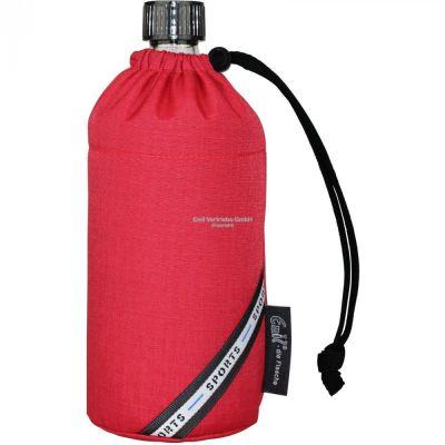 Flasche 0,6 Liter Rot red Glasflasche Trinkflasche Isolierflasche Germany Thermobecher Glas | 5793 / EAN:4030596001545