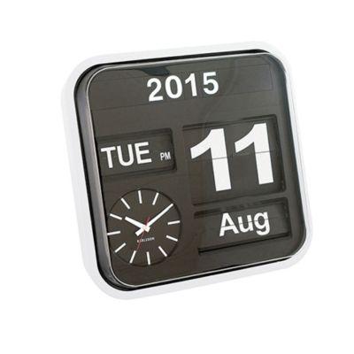 Kalenderuhr Big Flip Kalender Uhr analog Fallblattanzeige groß schwarz weiß Retro Tischuhr | 12347 / EAN:8714302131967