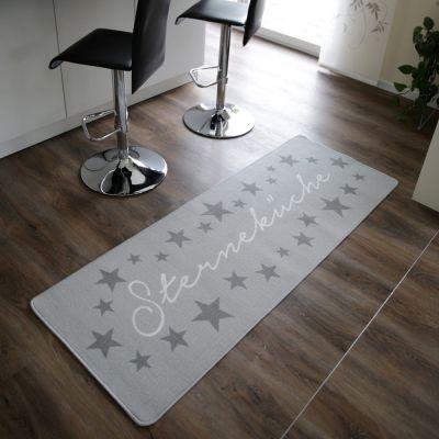 Küchenläufer Sterneküche hellgrau Teppich Küche Läufer Sterne 180 x 67 cm Teppichläufer Küchenmatte | 10925 / EAN:4250967803336