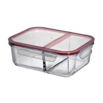 Lunchbox groß Vorratsdose groß Brotdose Brotbox Glas Klickverschluss zwei Fächer   13880 / EAN:4007371065061