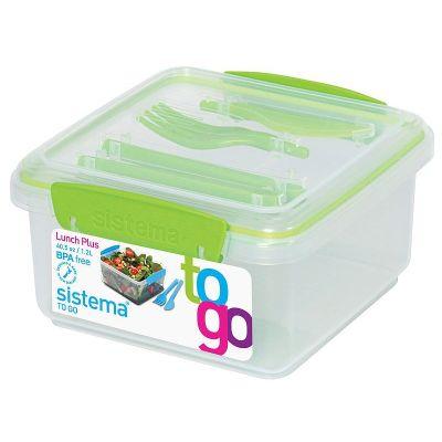 Lunchbox To Go mit Besteck grün Brotzeitbox Brotbox Set BPA-frei   6923 / EAN:9414202256522