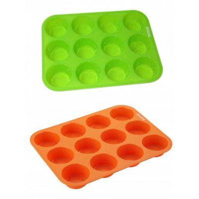 Muffinform 12er orange grün Backform Silikon Muffinförmchen Cupcakes Muffin Silikonbackform | 3957