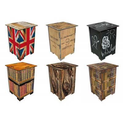 Photohocker Fotohocker Hocker Bestelltisch Tisch klein Teekiste British Holz Rinde Union Jack Bücher | 9372