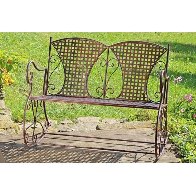 Schaukelbank Konya Metall Eisen braun Schaukelstuhl Nostalgie 2 Sitzer Metallbank Gartenmöbel Bank | 5544 / EAN:4020606889508