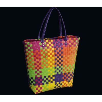 Shoppingbag Fashion multicolor Tasche Einkaufstasche Korb Korbtasche Flechttasche bunt Shopper | 6058 / EAN:4017166157000