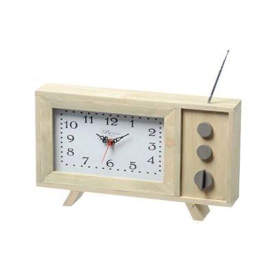 Stand-Uhr TV braun Holz retro Zeitmesser Uhrzeit Designuhr nostalgie | 6007 / EAN:4020606931726