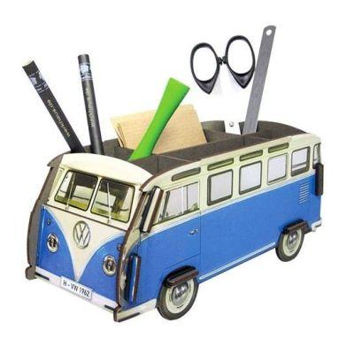 Stiftebox VW Bus T1 blau Stifteköcher Bulli Bully Stifte Box Ordnung Schreibtisch Holz | 8014 / EAN:4019435120050