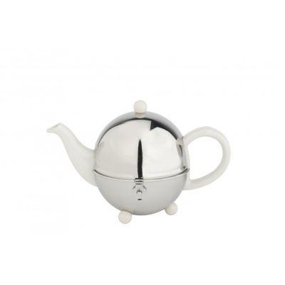 Teekanne Cosy 0,5 l Kanne Edelstahl Porzellan weiß Teefilter Teehaube Teapot Metallhaube | 2721 / EAN:8711871025505