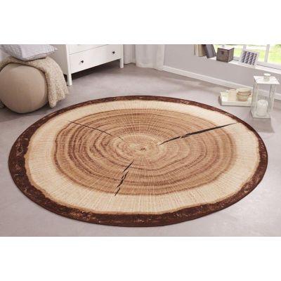 Teppich Baumstamm rund 133cm Velours Design Teppich Küchenteppich Wohnzimmerteppich Designer-Teppich | 7131 / EAN:4260286912138