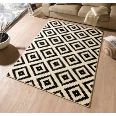 Teppich Raute 80x200 cm Küchenteppich Designerteppich Wohnzimmerteppich Designteppich schwarz creme | 8567 / EAN:4260388039702