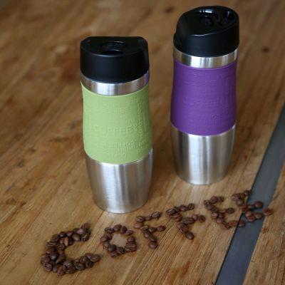 Thermobecher 2-er Set grün und violett 400 ml Isolierbecher Kaffeebecher Coffee to go Edelstahl | 12893 / EAN:4250967803923