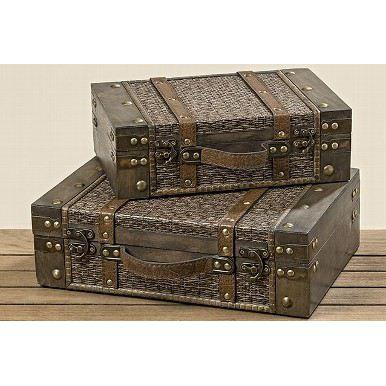 Truhe Tamika 2-er Set Aufbewahrungsbox Holztruhe Antik-Optik Aufbewahrungskiste Holzschatulle Box | 8938 / EAN:4020607360549