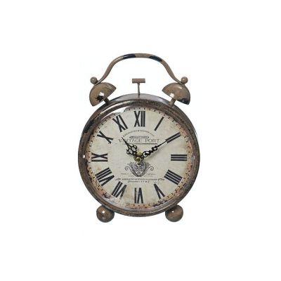 Uhr Orleans Weckeroptik Zeit Uhrzeit Uhrzeitmesser Time Eisen hellbraun Vintageoptik Dekoration | 5678 / EAN:4020606933775
