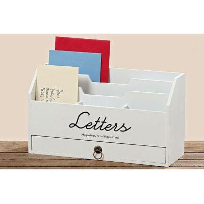 Utensilo Lemgo Utensilien weiß Holz Briefhalter Briefbox Ablagebox Ordnungsbox Stiftebox Bürobutler | 5768 / EAN:4020606900234